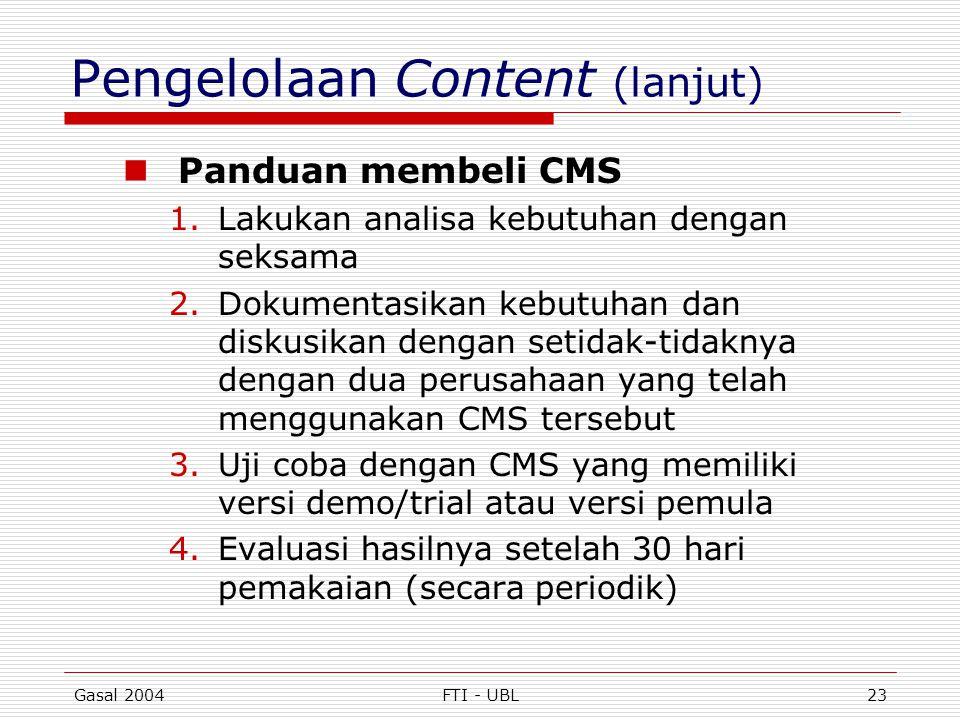 Pengelolaan Content (lanjut)
