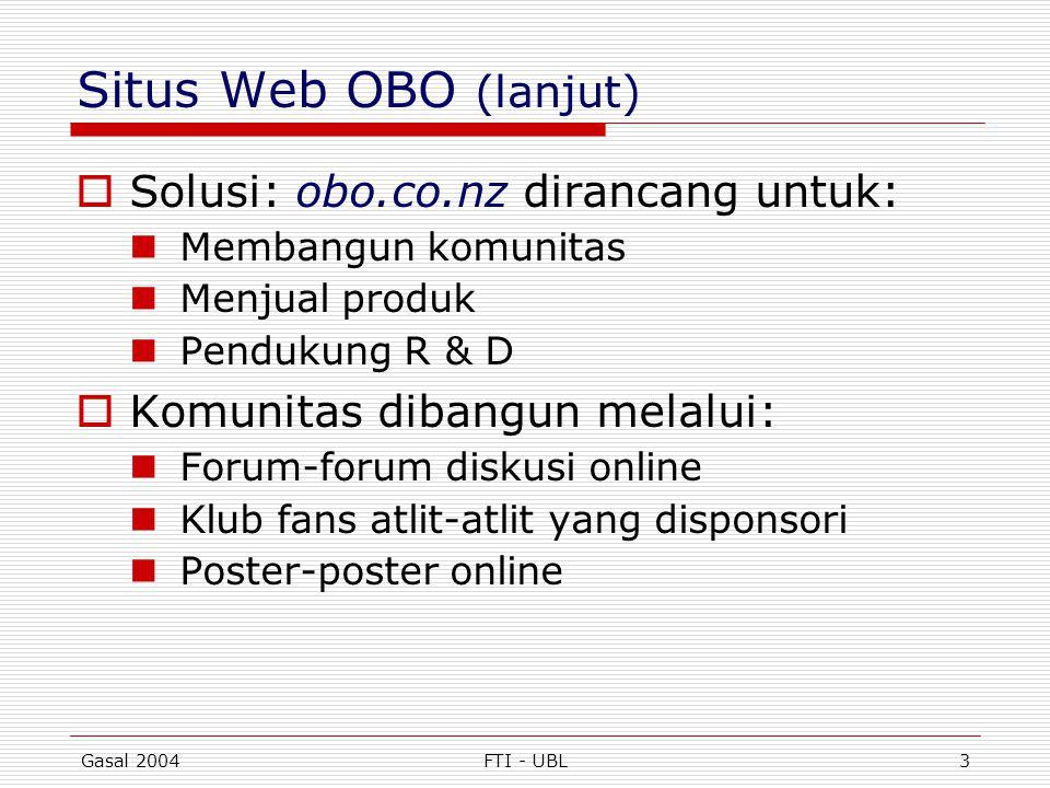 Situs Web OBO (lanjut) Solusi: obo.co.nz dirancang untuk: