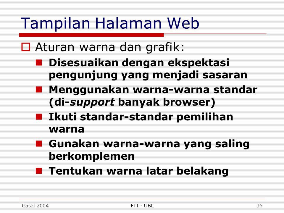 Tampilan Halaman Web Aturan warna dan grafik: