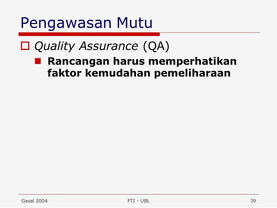 Pengawasan Mutu Quality Assurance (QA)
