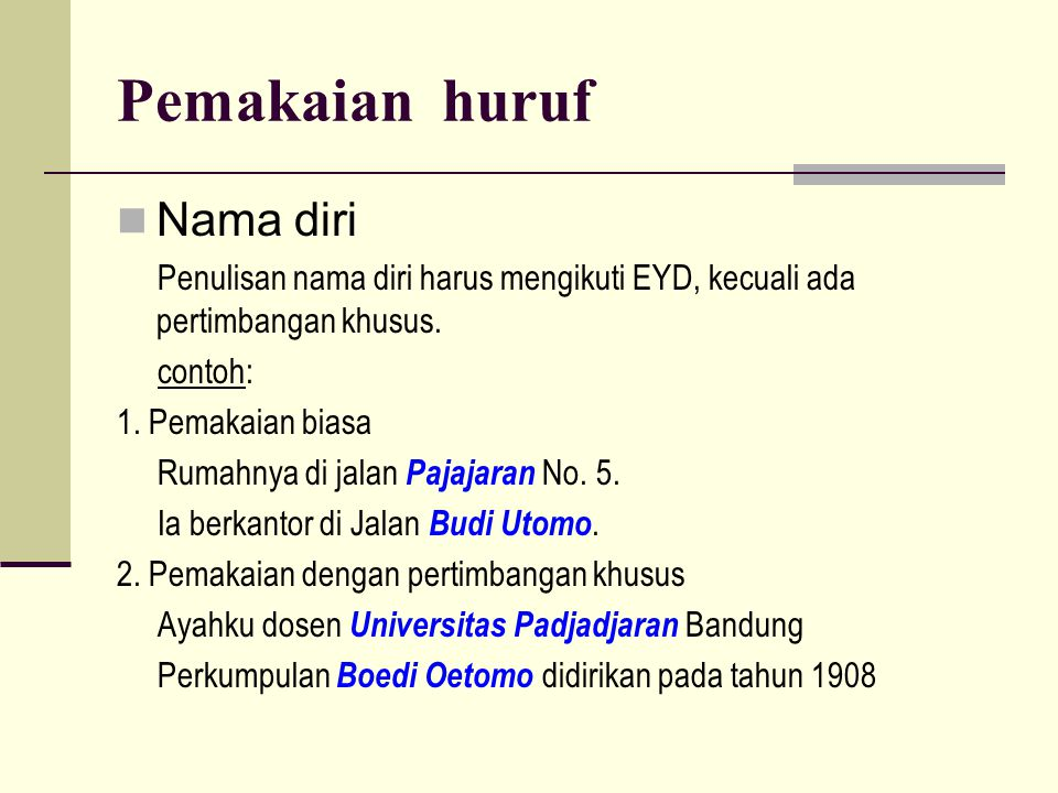 Pemakaian huruf Nama diri