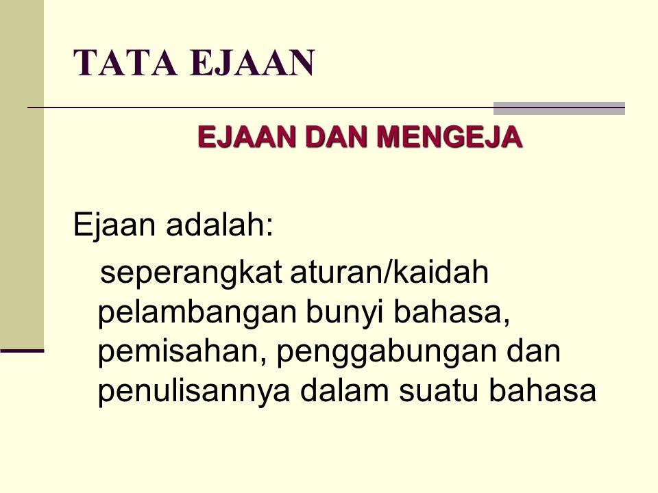 TATA EJAAN Ejaan adalah: