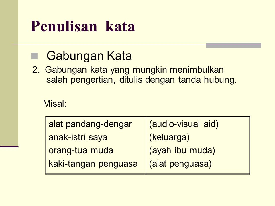 Penulisan kata Gabungan Kata Misal: alat pandang-dengar