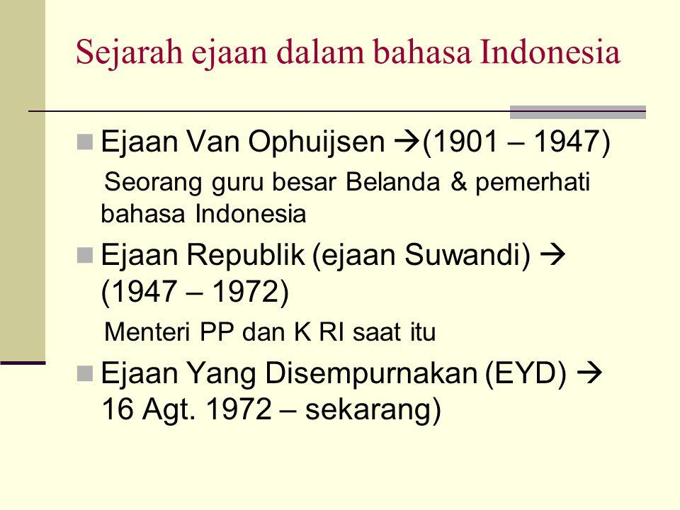 Sejarah ejaan dalam bahasa Indonesia