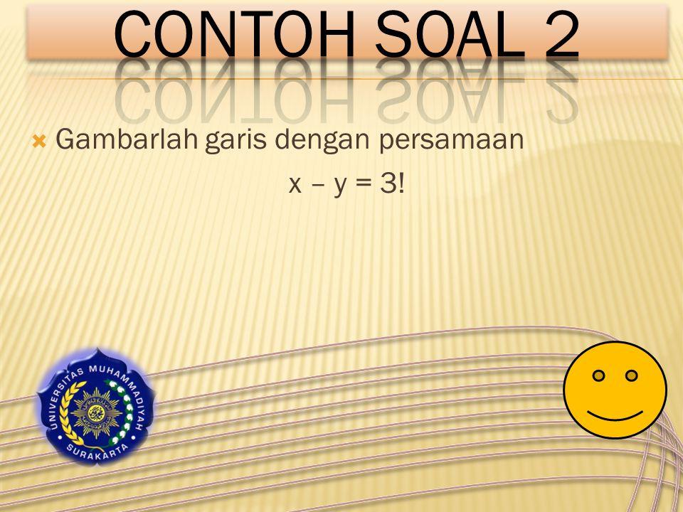 CONTOH SOAL 2 Gambarlah garis dengan persamaan x – y = 3!