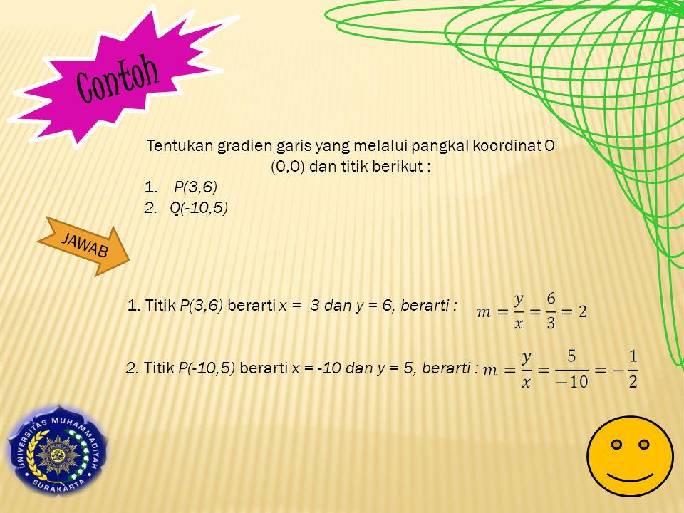 Contoh Tentukan gradien garis yang melalui pangkal koordinat O (0,0) dan titik berikut : P(3,6) Q(-10,5)