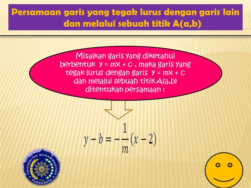 Persamaan garis yang tegak lurus dengan garis lain dan melalui sebuah titik A(a,b)