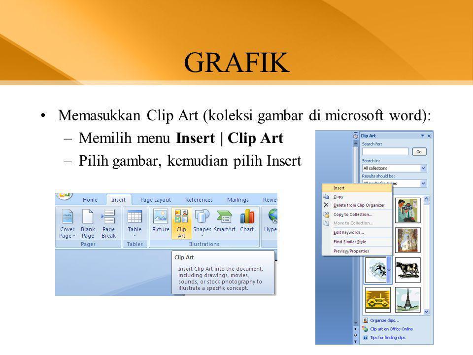 GRAFIK Memasukkan Clip Art (koleksi gambar di microsoft word):