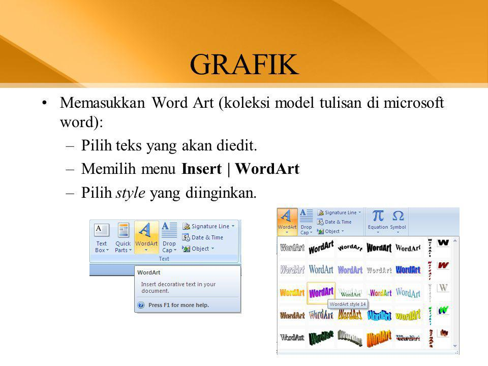 GRAFIK Memasukkan Word Art (koleksi model tulisan di microsoft word):
