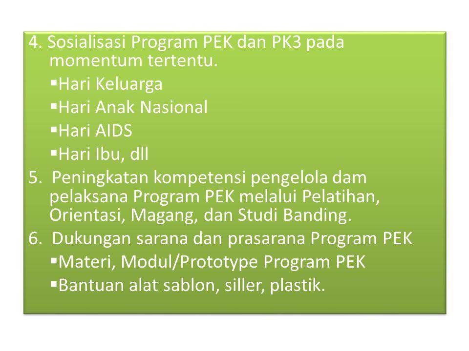 4. Sosialisasi Program PEK dan PK3 pada momentum tertentu.