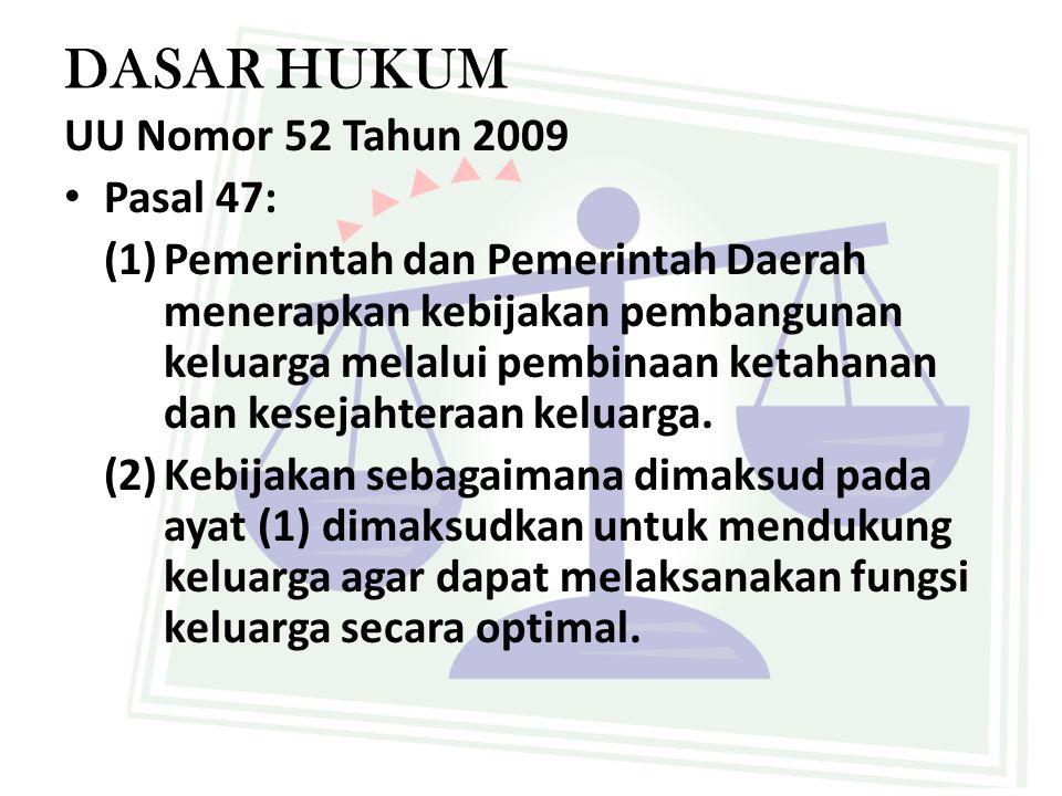 DASAR HUKUM UU Nomor 52 Tahun 2009 Pasal 47: