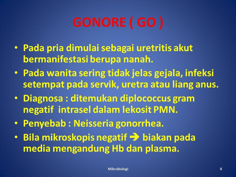 GONORE ( GO ) Pada pria dimulai sebagai uretritis akut bermanifestasi berupa nanah.