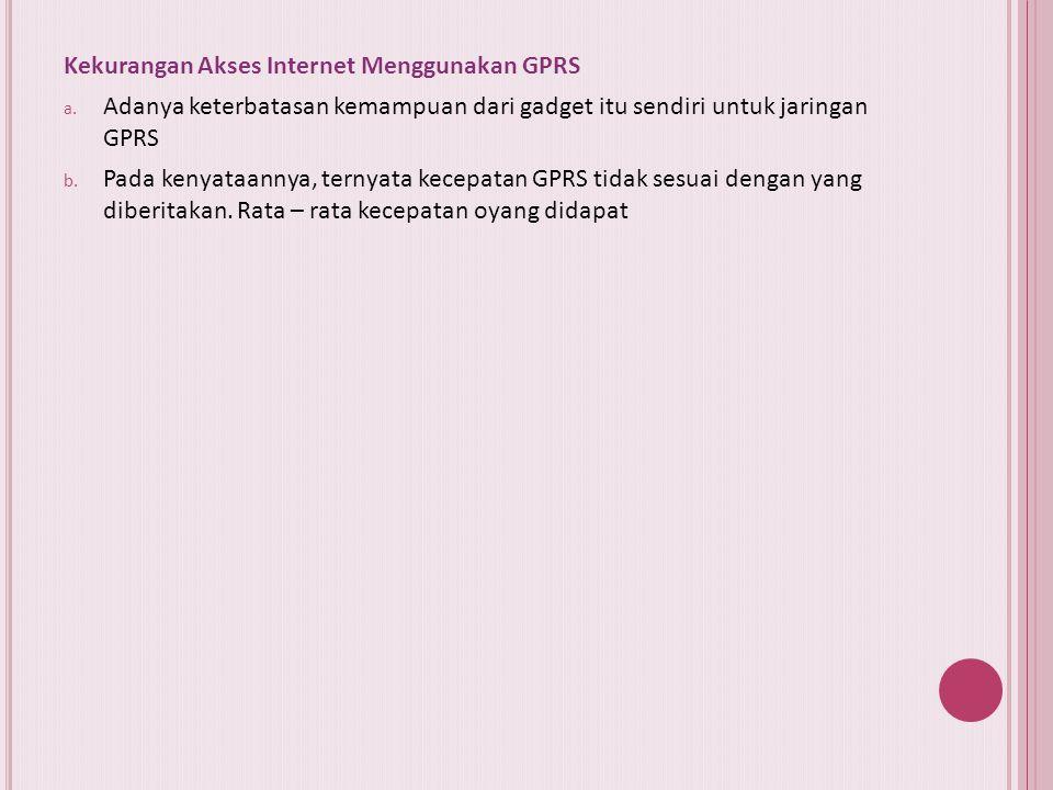 Kekurangan Akses Internet Menggunakan GPRS