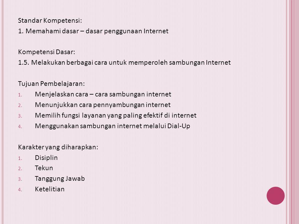 Standar Kompetensi: 1. Memahami dasar – dasar penggunaan Internet. Kompetensi Dasar: