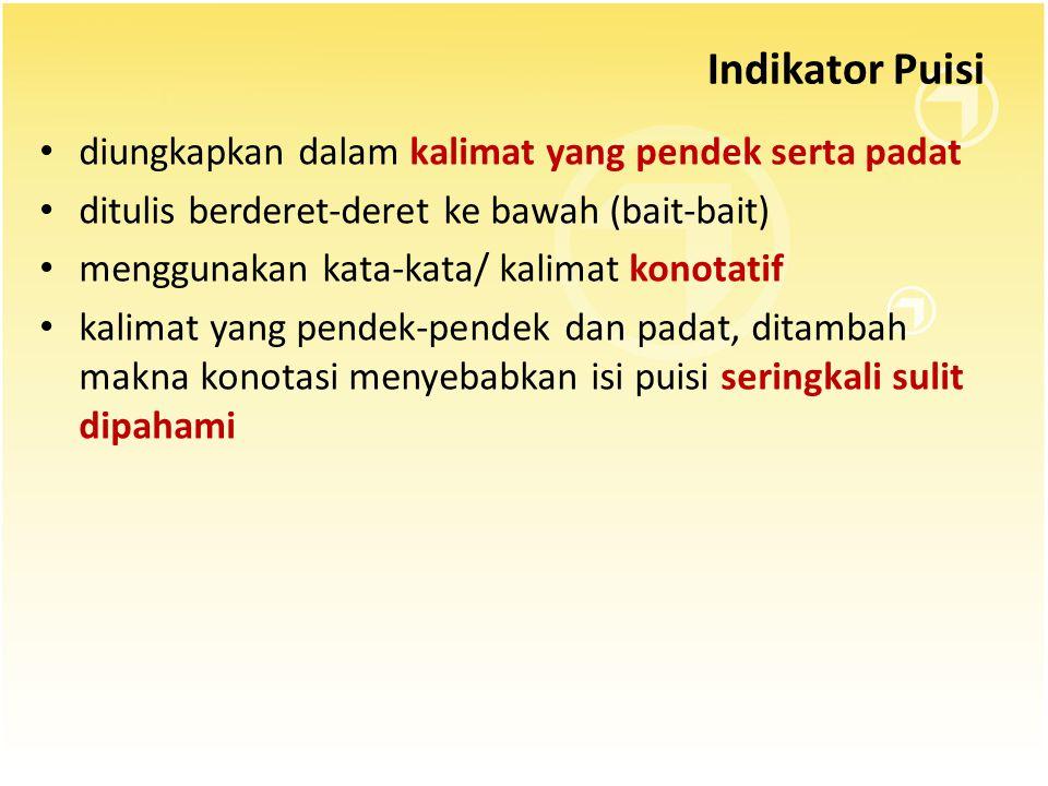 Indikator Puisi diungkapkan dalam kalimat yang pendek serta padat