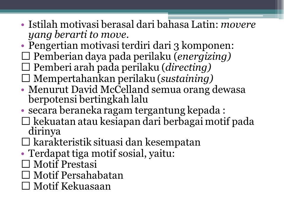 Istilah motivasi berasal dari bahasa Latin: movere yang berarti to move.