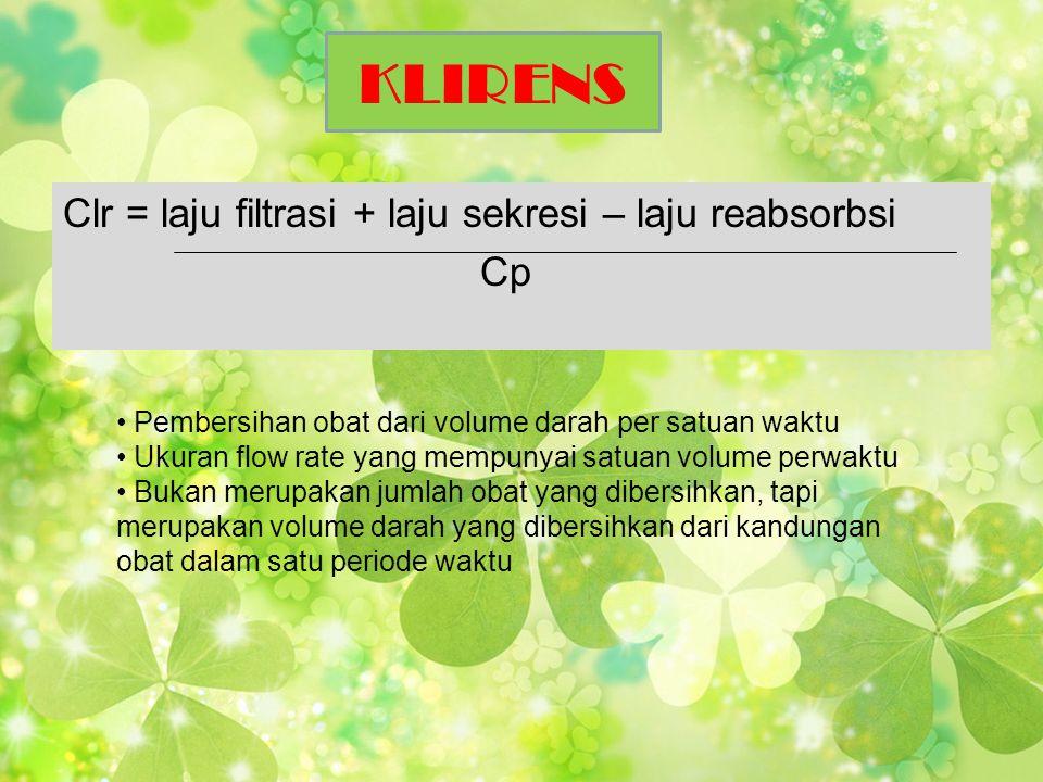 KLIRENS Clr = laju filtrasi + laju sekresi – laju reabsorbsi Cp