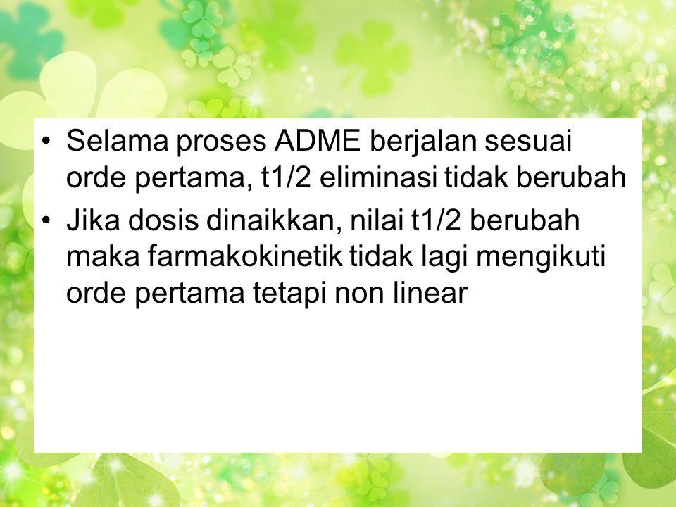 Selama proses ADME berjalan sesuai orde pertama, t1/2 eliminasi tidak berubah