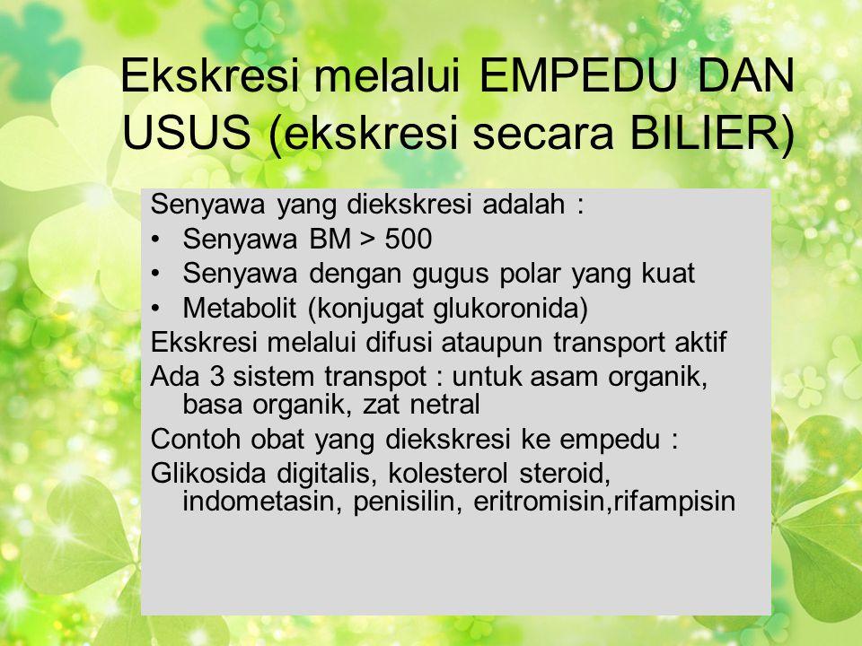 Ekskresi melalui EMPEDU DAN USUS (ekskresi secara BILIER)