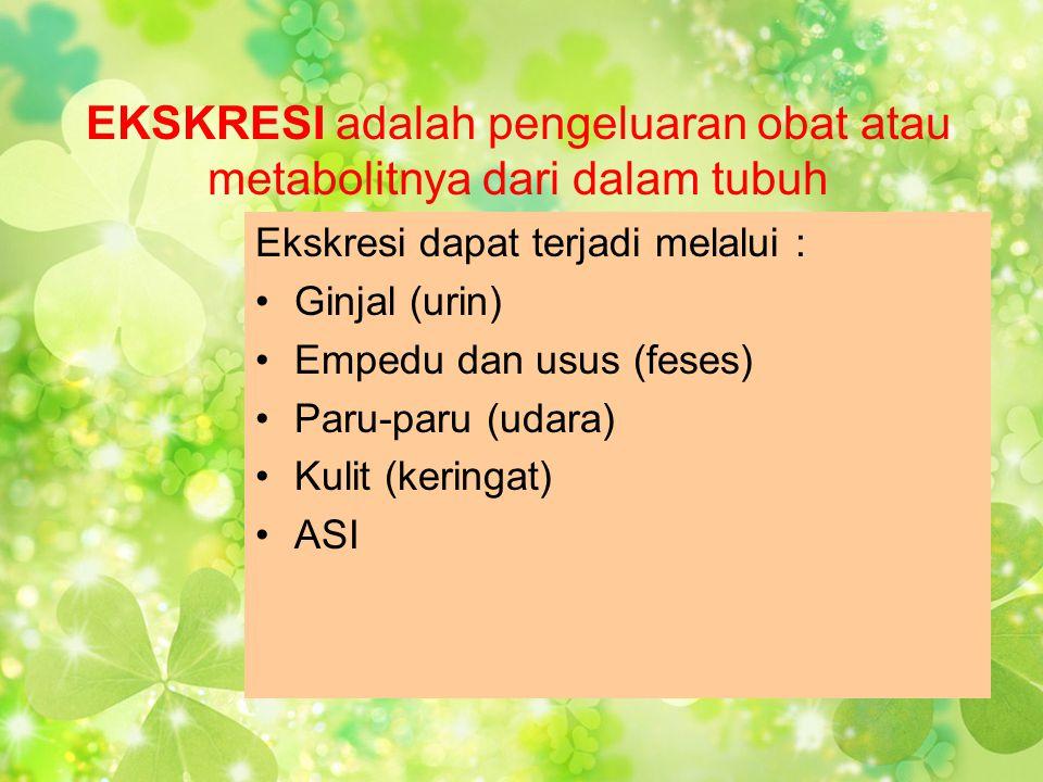 EKSKRESI adalah pengeluaran obat atau metabolitnya dari dalam tubuh