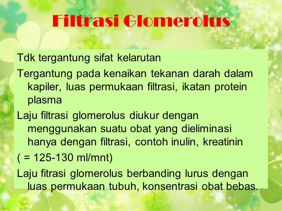 Filtrasi Glomerolus Tdk tergantung sifat kelarutan