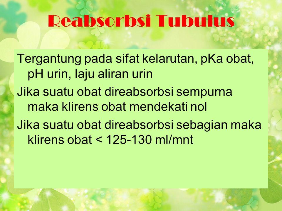 Reabsorbsi Tubulus Tergantung pada sifat kelarutan, pKa obat, pH urin, laju aliran urin.