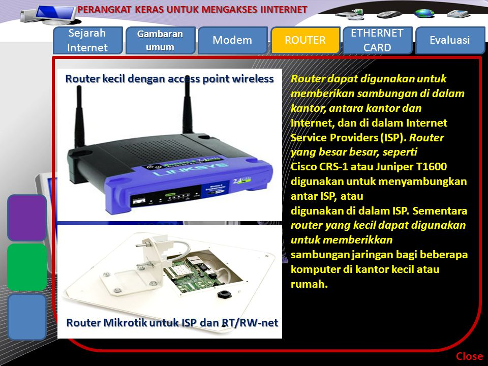Router kecil dengan access point wireless MODEM