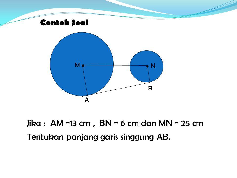 Jika : AM =13 cm , BN = 6 cm dan MN = 25 cm