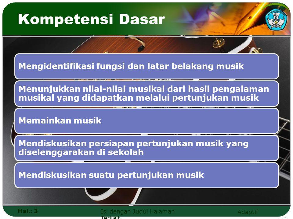 Kompetensi Dasar Hal.: 3 Isi dengan Judul Halaman Terkait