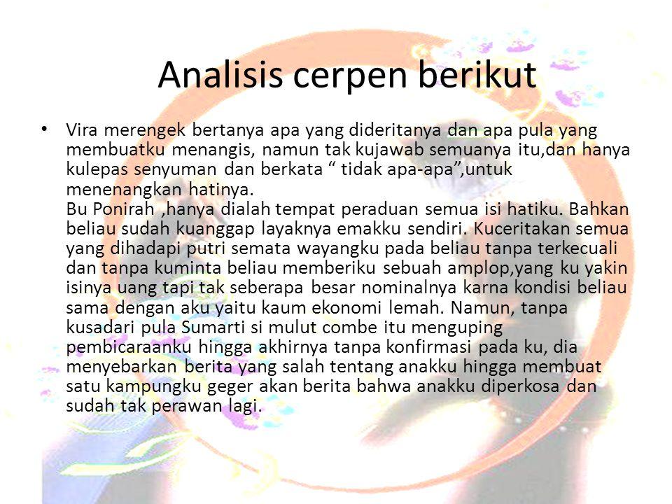 Analisis cerpen berikut