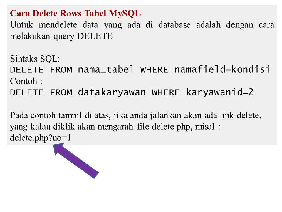 Cara Delete Rows Tabel MySQL