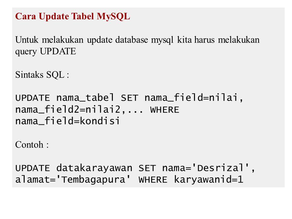 Cara Update Tabel MySQL