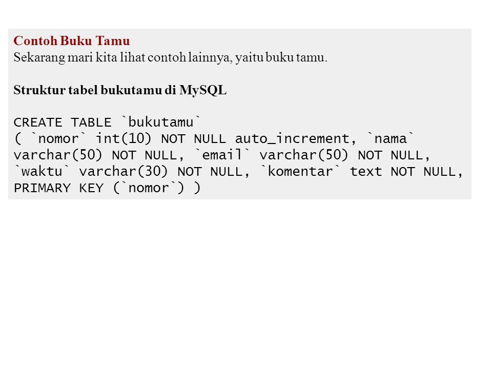 Contoh Buku Tamu Sekarang mari kita lihat contoh lainnya, yaitu buku tamu. Struktur tabel bukutamu di MySQL.