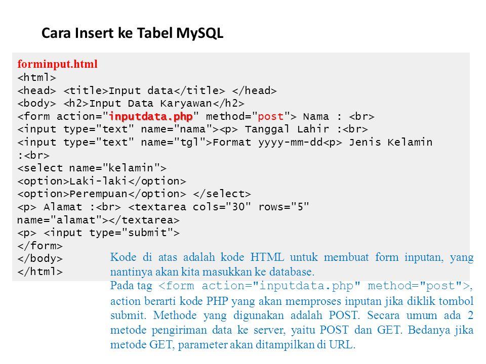 Cara Insert ke Tabel MySQL