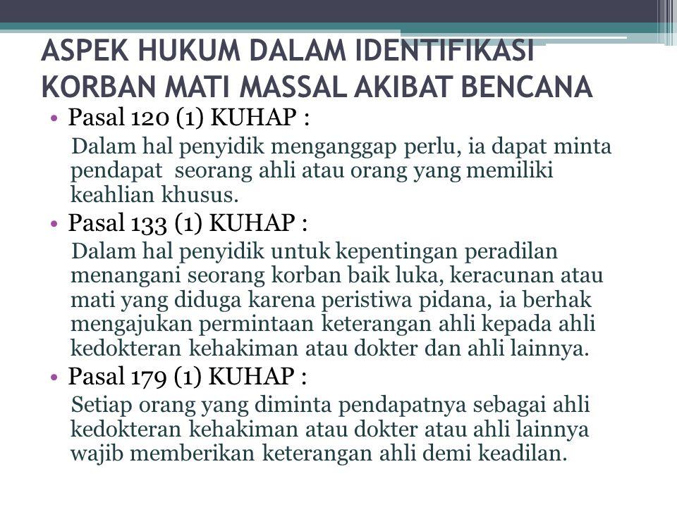 ASPEK HUKUM DALAM IDENTIFIKASI KORBAN MATI MASSAL AKIBAT BENCANA