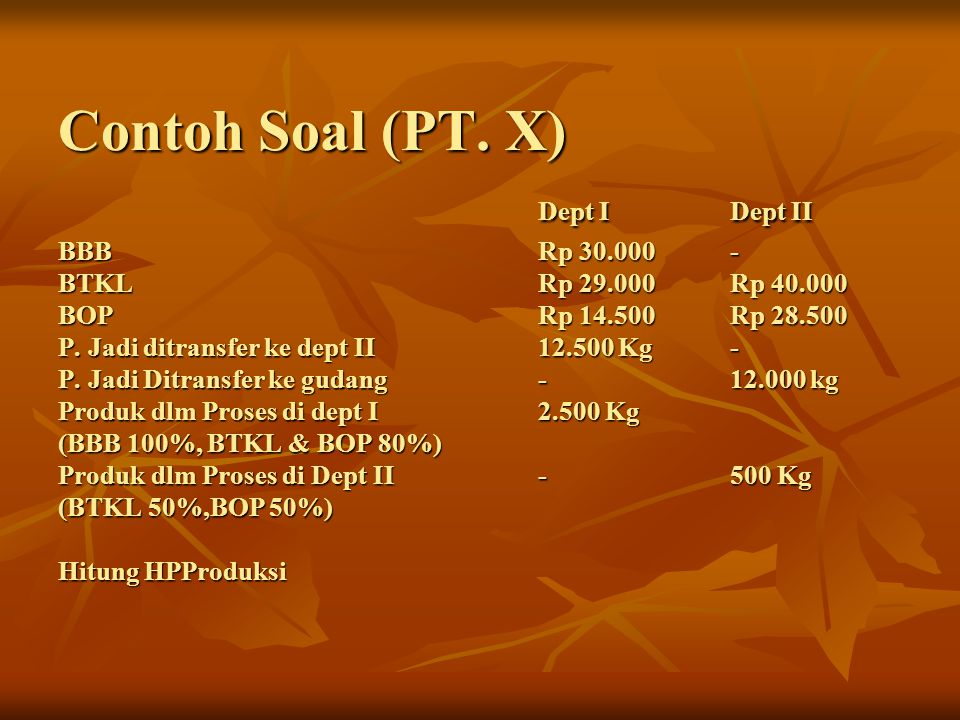 Contoh Soal (PT. X). Dept I. Dept II BBB. Rp 30. 000. - BTKL. Rp 29