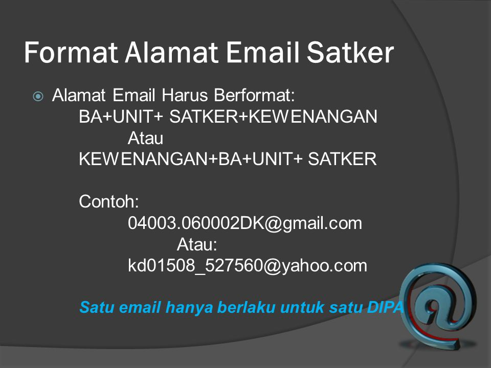 Format Alamat Email Satker
