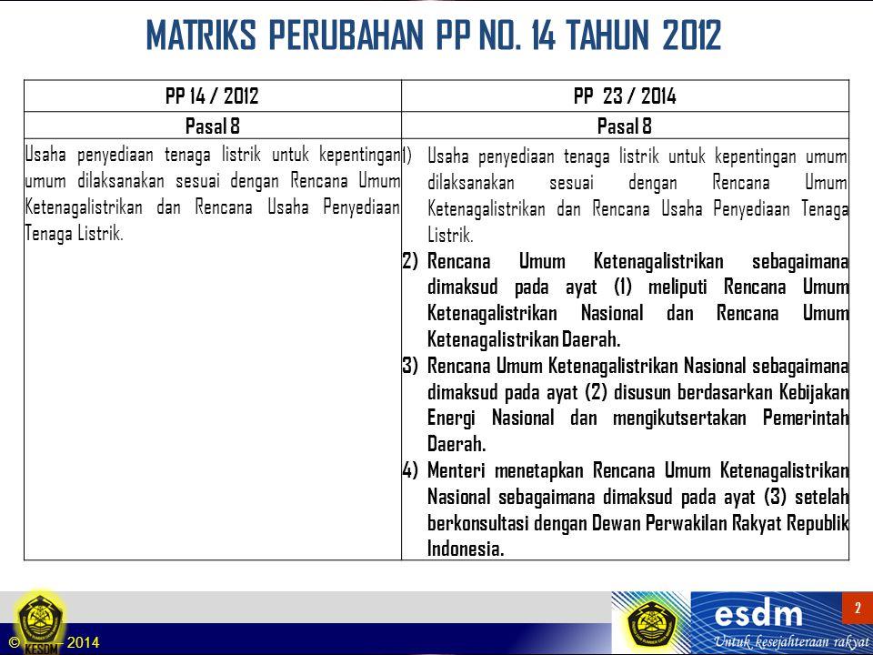 MATRIKS PERUBAHAN PP NO. 14 TAHUN 2012
