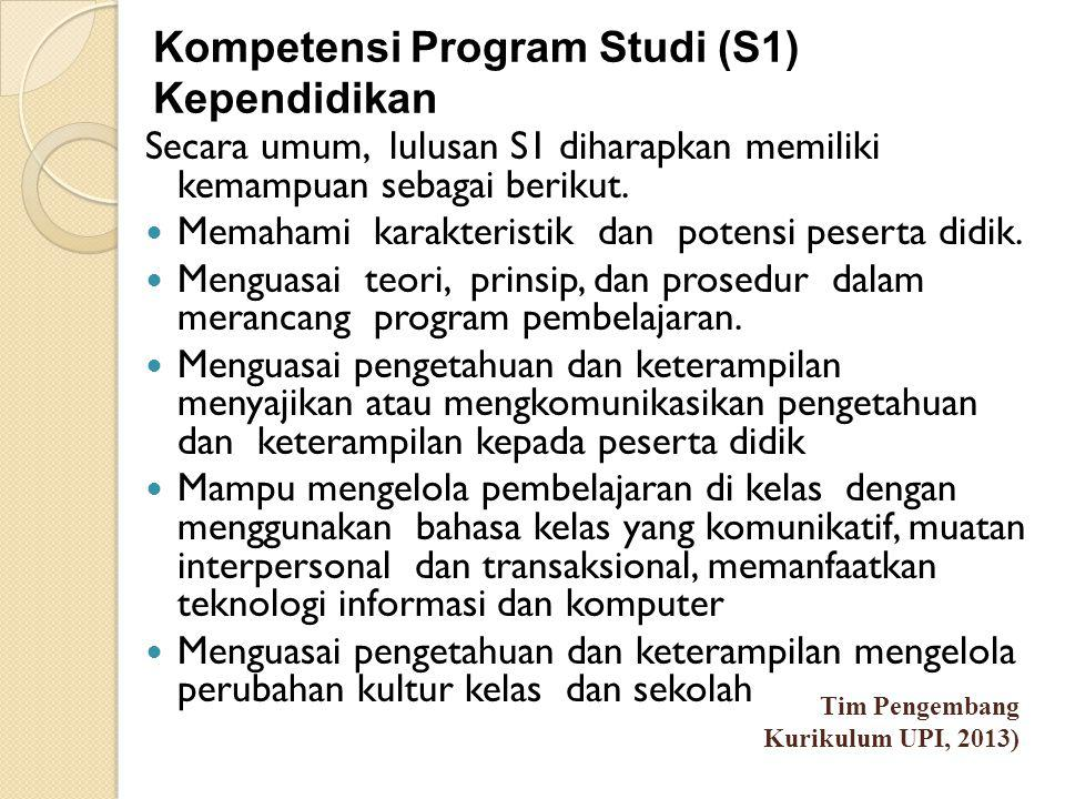 Kompetensi Program Studi (S1) Kependidikan