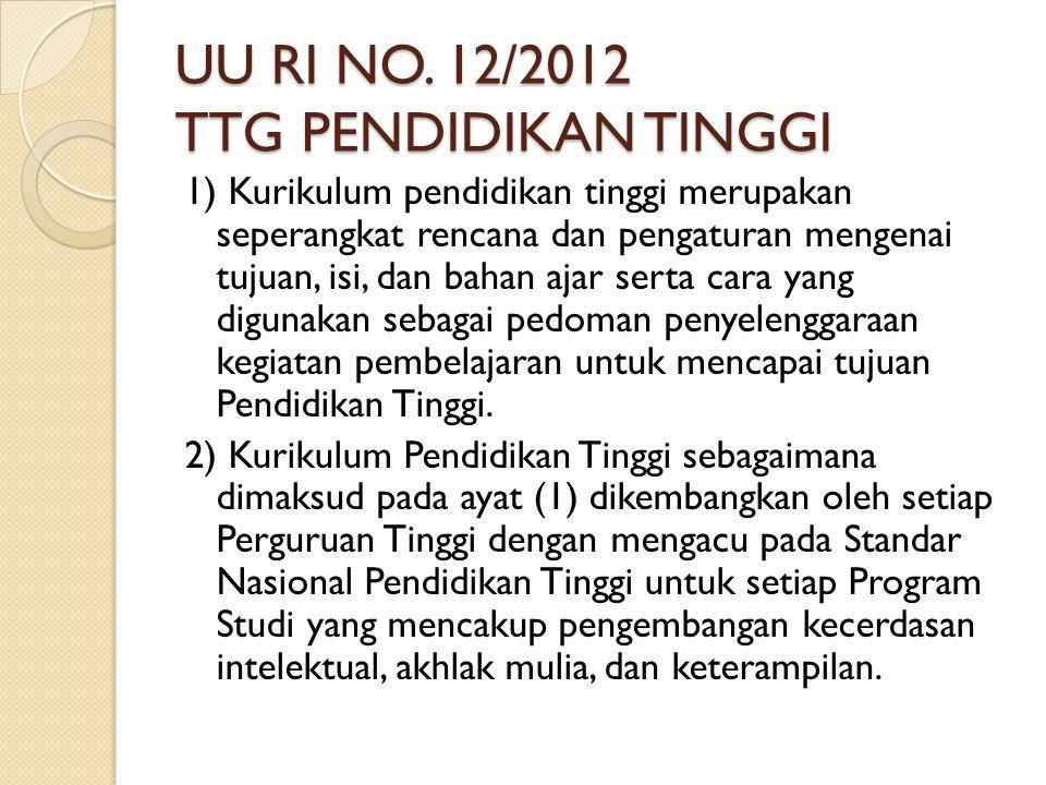 UU RI NO. 12/2012 TTG PENDIDIKAN TINGGI