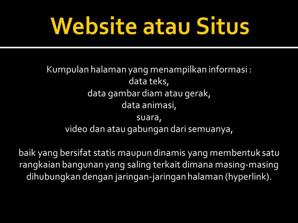 Website atau Situs Kumpulan halaman yang menampilkan informasi :