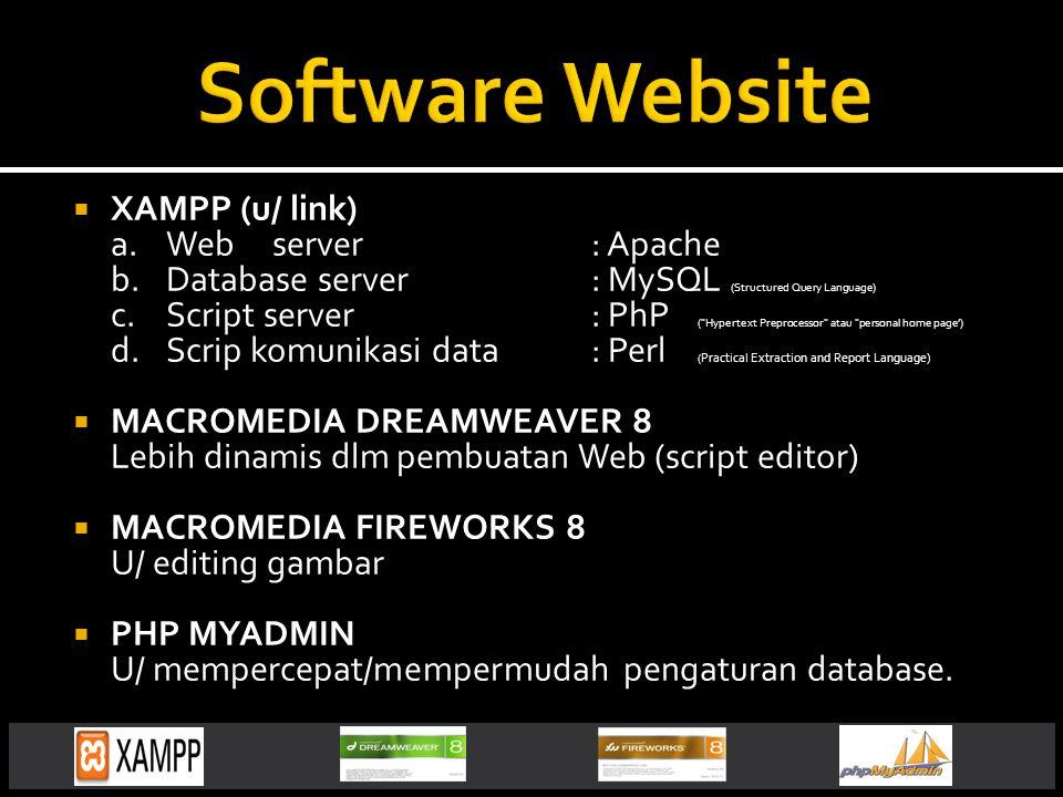Software Website XAMPP (u/ link) a. Web server : Apache