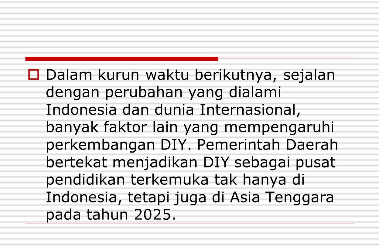 Dalam kurun waktu berikutnya, sejalan dengan perubahan yang dialami Indonesia dan dunia Internasional, banyak faktor lain yang mempengaruhi perkembangan DIY.