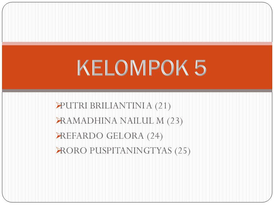 KELOMPOK 5 PUTRI BRILIANTINI A (21) RAMADHINA NAILUL M (23)