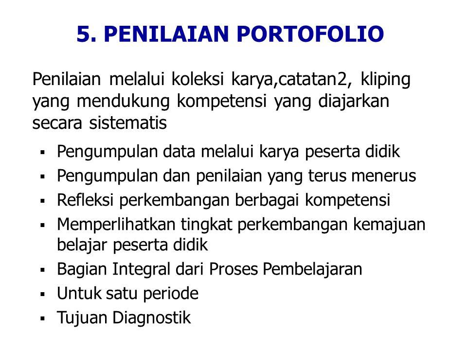 5. PENILAIAN PORTOFOLIO Penilaian melalui koleksi karya,catatan2, kliping yang mendukung kompetensi yang diajarkan secara sistematis.
