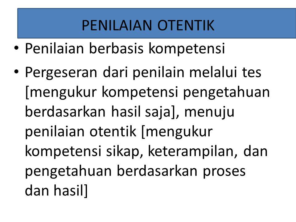 PENILAIAN OTENTIK Penilaian berbasis kompetensi.