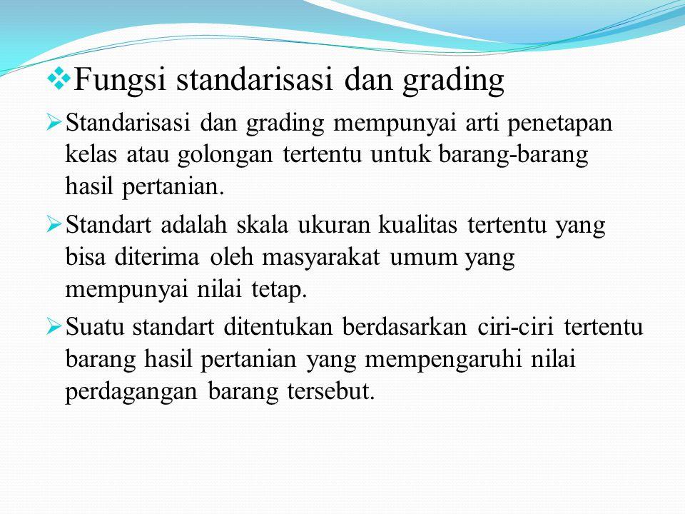 Fungsi standarisasi dan grading