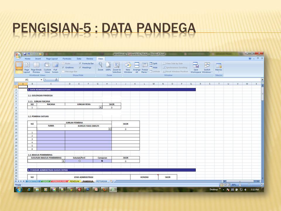 Pengisian-5 : Data PANDEGA