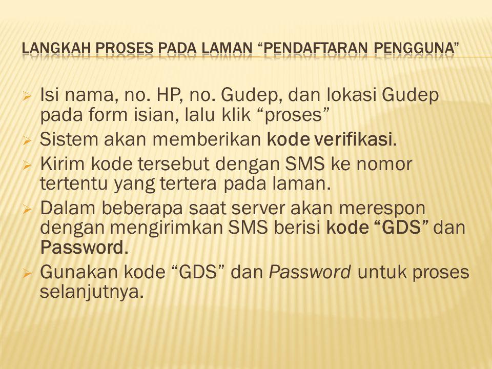 Langkah proses pada laman pendaftaran Pengguna