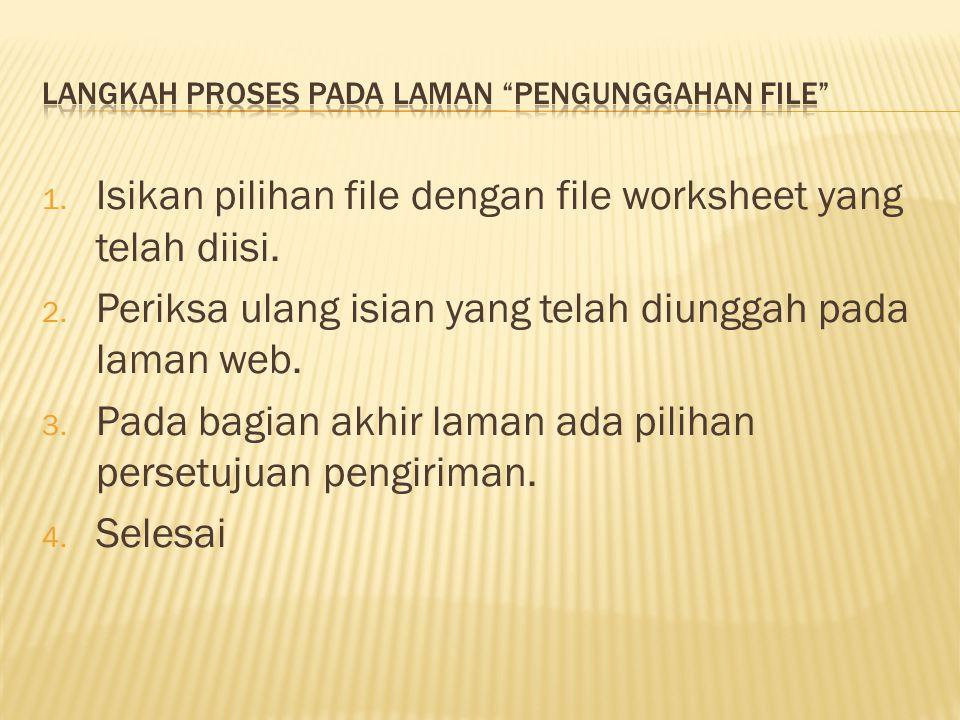 Langkah proses pada laman Pengunggahan file